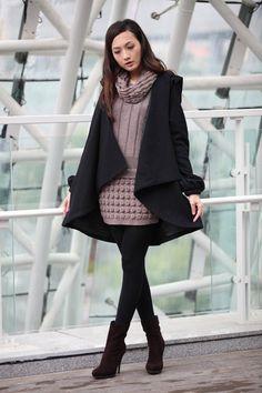 ON SALE Size M BLACK Long Sleeve Wool Winter Coat Wool Jacket Special Hooded Woolen Cape Coat Hood Cloak Hoodie Cape for Women - NC231