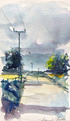 Original Watercolour Painting - Country Lane - Signed Annabel Burton