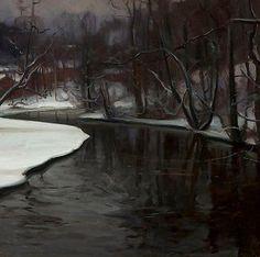 Victor Westerholm, (1860-1919) Talvi Fiskarsissa (1906) Denmark, Painting & Drawing, Norway, Scandinavian, Snow, Sculpture, Landscape, Drawings, Outdoor