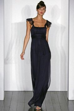 Amsale – Navy Chiffon Long Bridesmaids Dress