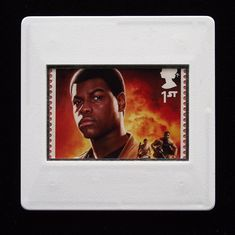 Star Wars Brooch ' Finn' - The Royal Mail released a set of special stamps featuring some of the characters, favourite droids, - Presentation Cards, John Boyega, Star Wars Film, First Order, Brooches Handmade, Famous Last Words, Royal Mail, Design Show, Postage Stamps