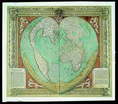 Carte du monde en forme de cœur d'Oronce Fine, 1536