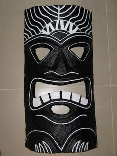 Paper Mache Money Tiki.  Moolah Mask.  Made with finely shredded paper and a lot of patience.