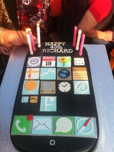 Iphone birthday cake... Would only do this if 1/2 sheet size or larger