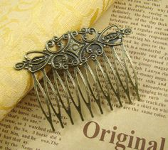 Antique Bronze 10 Teeth Hair Comb With Filigree Wrap  HA421