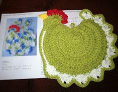 free written pattern The Flying Hook: Mission Chicken hotpad Crochet Hot Pads, Crochet Towel, Crochet Yarn, Crochet Crown, Yarn Projects, Knitting Projects, Crochet Projects, Crochet Ideas, Crochet Potholder Patterns