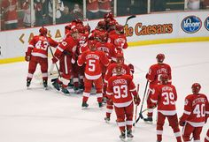 DETROIT, MI - FEBRUARY 14: The Detroit Red Wings celebrate their NHL record breaking 21st consecutive home victory by beating the Dallas Stars 3-1 at Joe Louis Arena on February 14, 2012 in Detroit, Michigan. (Photo by Gregory Shamus/Getty Images)  :)