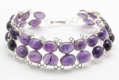 .925 Sterling Silver Layered Oval Purple Amethyst Chain Bracelet (18.2g) #Unbranded #Unavailable