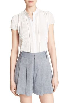 e9d7effbf279 Alice + Olivia  Jaclyn  Pleated Stretch Silk Blouse available at  Nordstrom  Pin Tucks