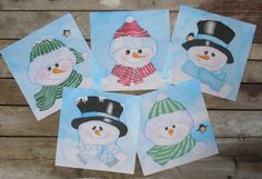 Snowman Quilt Block Hand Painted on Cotton with by paintedquilts