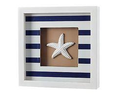 Cuadro en madera DM Estrella de mar, azul y blanco - 20x20 cm