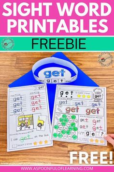 These sight word printables are FREE for you! There are 3 different sight word activities for the sight word 'get'. They are hands-on, engaging, interactive, and provide so many skills to help master the sight word. Make a cute sight word hat, practice fine motor skills, tracing, writing, problem solving, identifying, spelling, handwriting, and more in just these 3 sight word printables.