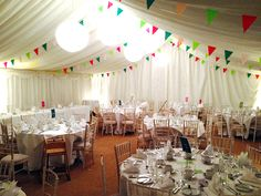 Wedding marquee with affordable coconut matting covering the ground