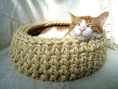 Cat Basket Crochet Cat Bed Cat Cave Cat House Cat by RopeLove