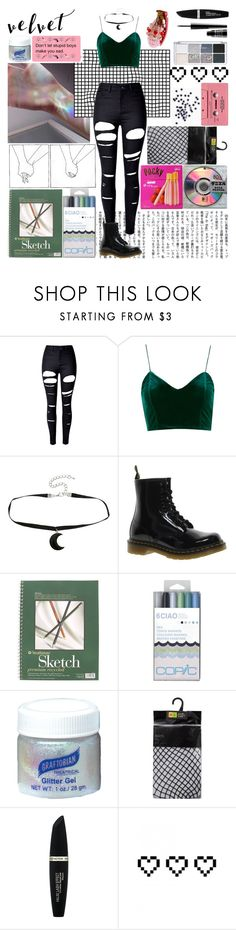 """b u r n"" by ticci-toby13 ❤ liked on Polyvore featuring WithChic, Hot Topic, Dr. Martens, Mon Cheri, Max Factor, CASSETTE, Retrò and Lord & Berry"