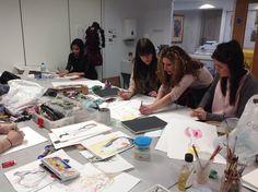 Fashion Designer Katie Pugh working with Foundation Students CNC.