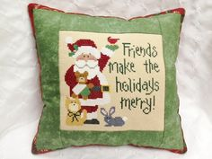 Lizzie Kate Christmas Cross Stitch Pillow by homecrafting, $18.50