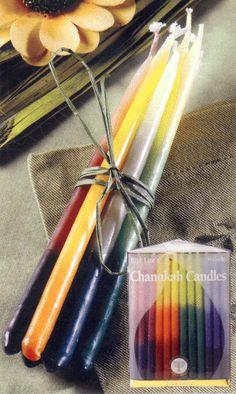 Rainbow Chanukah Candles