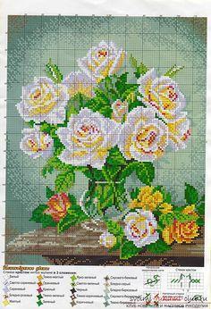 Схемы вышивки чайных роз. Фото №6