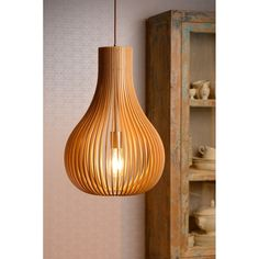 Lucide Bodo Hanglamp Hout - Ø 38 cm
