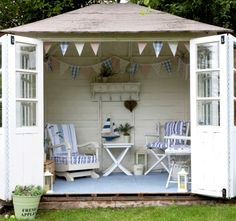 Nautical garden shed: http://www.completely-coastal.com/2013/06/seaside-stripe-decor-outdoor.html A cozy seaside getaway right in your backyard!