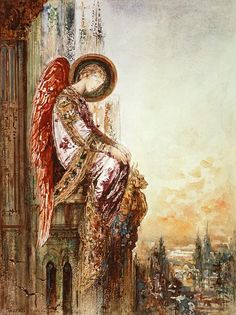 """Angel Traveller"", by Gustave Moreau (1826 – 1898), Watercolor, Paris, France, (http://www.musee-moreau.fr/homes/home_id24501_u1l2.htm)"