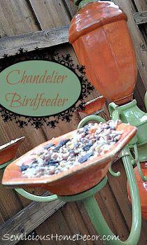 chandelier birdfeeder, outdoor living, repurposing upcycling, Chandelier Birdfeeder
