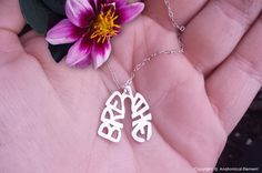 Just Breathe (Lungs) - hand sawn sterling silver lungs with the word BREATHE written inside!