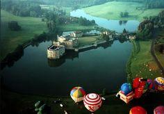 Hot air balloons over Leeds Castle, Kent, UK