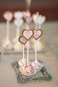 photo frame used as tray for cake pops