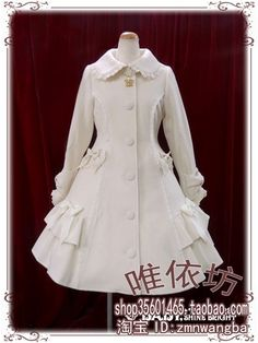 秋冬新款 安妮宝贝 可爱娃娃领荷叶边修身lolita洋装大衣呢外套