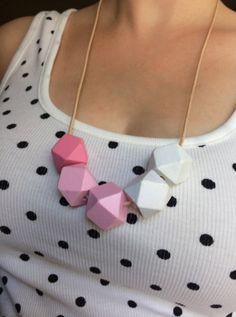 Hand painted geometric wooden bead necklace by ModFresh on Etsy, $24.00 www.ModFresh.etsy.com