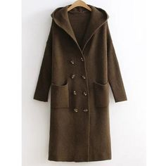 Double Breasted Knitted Coat with Hood ($34) ❤ liked on Polyvore featuring outerwear, coats, double-breasted coat, brown double breasted coat, brown coat and hooded coat