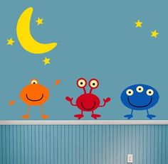 Childrens Room Decor Alien Moon Stars Wall Decal Children. $62.00, via Etsy.