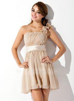 A-Line/Princess One-Shoulder Short/Mini Chiffon Charmeuse Bridesmaid Dress With Ruffle Flower(s) Bow(s) (007051833)