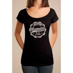 """T-shirt imprimé """"Super maman, You are my everything"""". T shirt manches personnalisé manches courtes, avec un dessin en forme de cachet/capsule rose ou noir. T-shirt original pour fille/femme qui souhaite faire un cadeau d'anniversaire, ou même un cadea de fête des mères."""