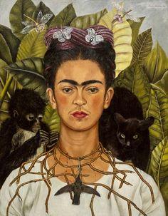 Autorretrato con collar de espina y colibrí , Frida Kahlo (1940). Representación de dolor por su divorcio con Diego Rivera