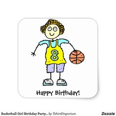 Basketball Girl Birthday Party Stickers