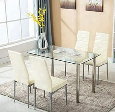 Glass Kitchen Tables, Glass Dining Table Set, Kitchen Dining Sets, Dining Table Design, Modern Dining Table, Dining Room Sets, Kitchen Chairs, Dining Room Furniture, Dining Room Table