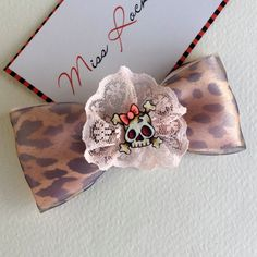 Skull Hair Clip Rockabilly Hair Accessories Leopard Print Pink by missrockabilly on Etsy