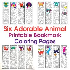 Six Adorable Animal Bookmarks! – Printable Coloring Pages – Scribble & Stitch