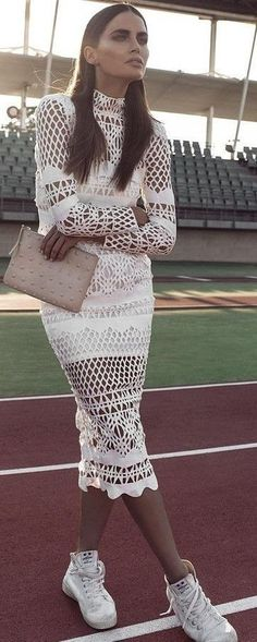#summer #elegant #feminine | White Crochet Midi Dress