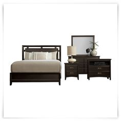 Includes: Panel bed, dresser, mirror, nightstand and media chest  Get fully furnished with the warm and modern look of the Ridgeway bedroom package. Detailed with brass hardware and raised drawer fronts throughout, the standout piece of this bedroom set is the cutout headboard with stunning diamond veneer.