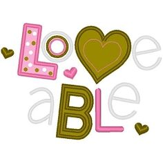 Loveable Applique - 3 Sizes! | Words and Phrases | Machine Embroidery Designs | SWAKembroidery.com Band to Bow