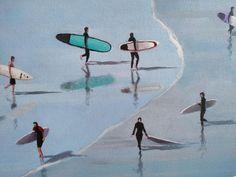 Alex Marmarellis: Saturday At The 'Berg: fine art | StateoftheART White Shadow Box, Shadow Box Frames, Original Artwork, Surfing, Africa, Fine Art, Canvas, Artist, Painting