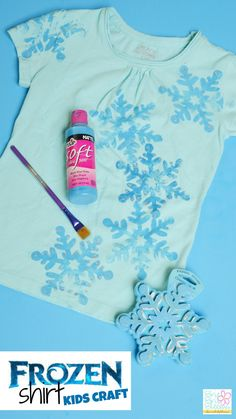 The DIY FROZEN shirt kids craft is fun and easy! Really, you could do this with anything. or make this into a winter shirt or something!