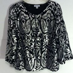 JOAN RIVERS TOP SIZE XLG Black top with silver sequins. 3/4 sleeves. Buttons down the front. Size XL JOAN RIVERS Tops