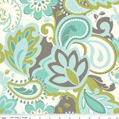 Emily Taylor for Riley Blake Designs - VERONA - MAIN in TEAL Aqua- Cotton Fabric