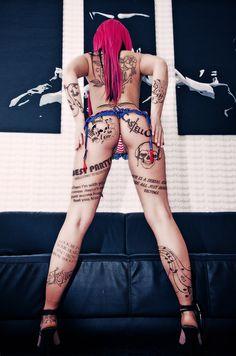 sexy, hot, girl, nude, tattoo