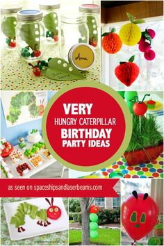 Very Hungry Caterpillar birthday party ideas Do you want a colorful birthday party for your little one? Find awesome inspiration in these Very Hungry Caterpillar party ideas. 1st Boy Birthday, Boy Birthday Parties, Birthday Ideas, Birthday Banners, Birthday Invitations, Preschool Birthday, Colorful Birthday Party, Hungry Caterpillar Party, Caterpillar Craft
